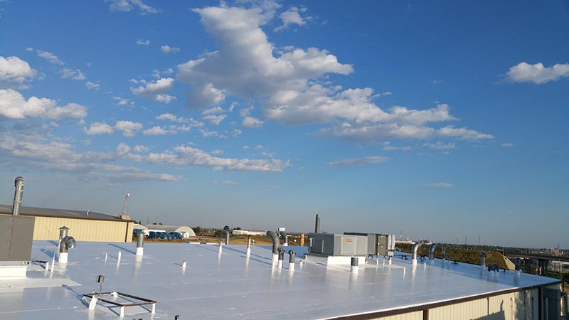 commercial pvc roof with new rc2000 Inland Coatings coating