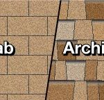 illustration of 3-tab shingles next to architectural shingles